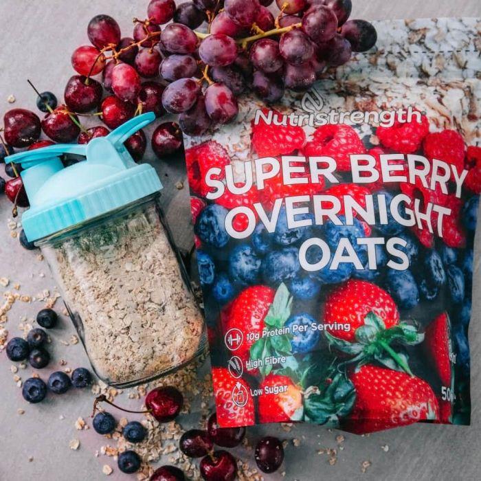 Overnight oats in glass shaker jar