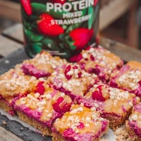 Raspberry Peanut Butter Blondies