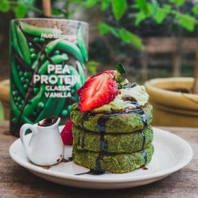 Matcha and Spinach Avocado Pancakes